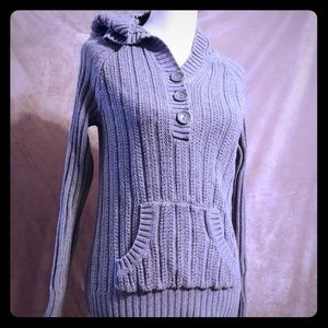 Sonoma Button Pull Over Grey Hoodie Pocket Sweater